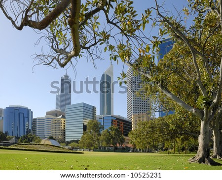 View at the financial district of Perth in Western Australia