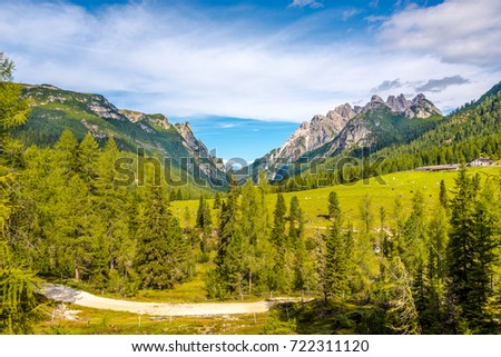 View at the meadows in South Tirol Dolomites in Italy #722311120