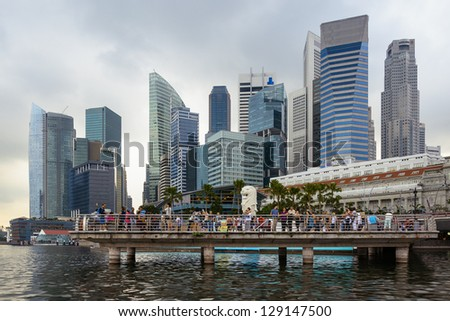 View at the Merlion and Singapore financial district
