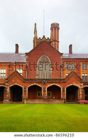 View at the Queen's University of Belfast in rainy day