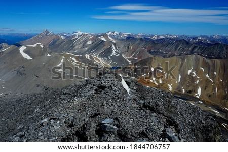 View at the summit of Nigel Peak near Columbia Icefield, Jasper National Park Canad Foto stock ©