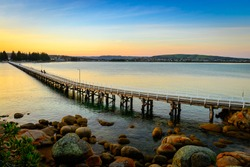 View at the Victor Harbor foot bridge at sunset from the Granite Island, South Australia