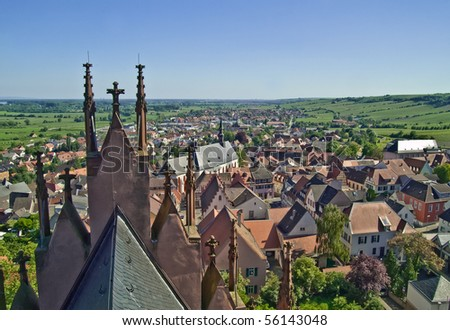 View at the wine village of  Oppenheim, Rheinhessen Germany - stock photo