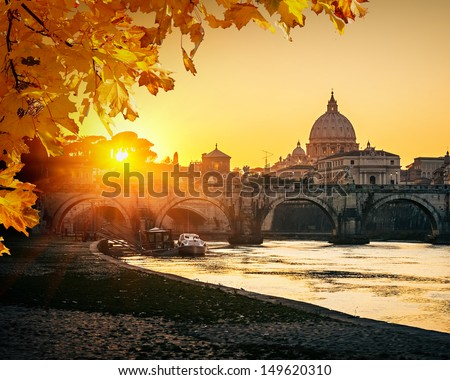 View at Tiber and St. Peter's cathedral in Rome #149620310