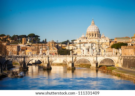 View at Tiber and St Peter's cathedral in Rome Italy