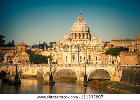 view at tiber and st. peter's...