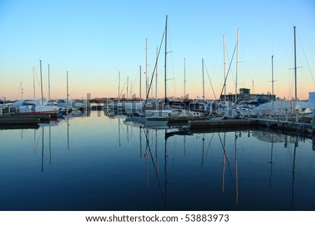 View at Toronto Yacht Club during sunset