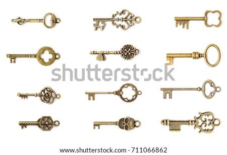 view at vintage metal keys set...