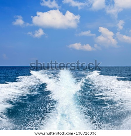 view behind the speed boat