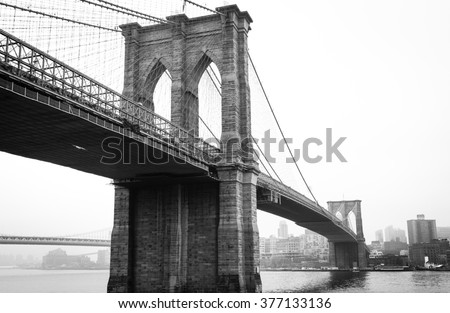 stock photo view brooklyn bridge with foggy city in the background 377133136 - Каталог — Фотообои «Мосты»