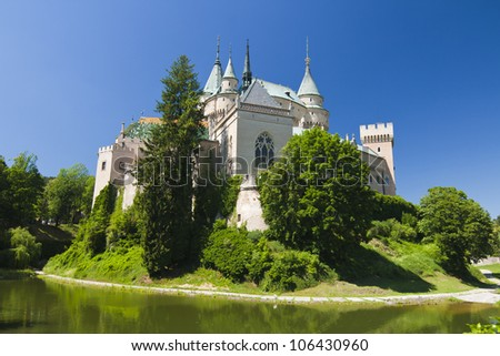 View Castle Bojnice with water - stock photo