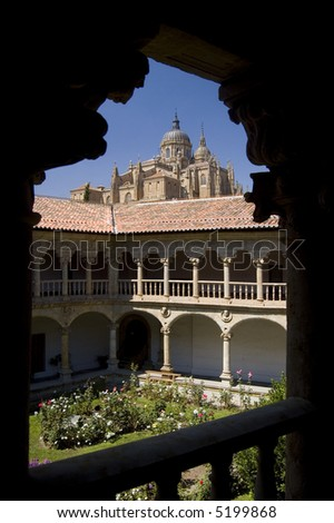 View Cathedral of Salamanca from the cloister of Las Dueñas Dominican Convent. Salamanca, Spain