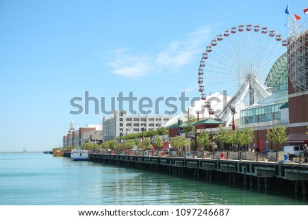 View down Navy Pier, Downtown Chicago, Illinois, USA - Shutterstock ID 1097246687