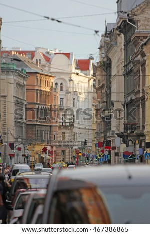 view down road in Budapest Stock fotó ©