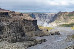 View down the Jokulsargljufur canyon towards the Hafragilsfoss waterfall as part of the Vatnajokull National Park in Iceland's highlands