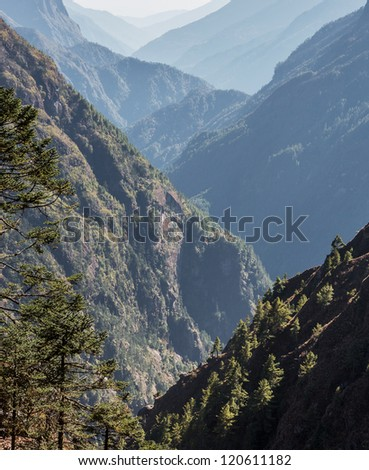View down the valley of the Dudh Koshi Nadi - Everest region, Nepal, Himalayas