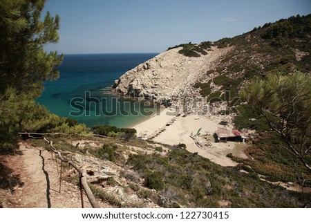 View down to a secluded Skiathos beach, Greece