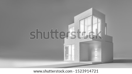 View exterior layout of a modern small house C facade trim of rectangular boards in the evening light. 3D illustration Stockfoto ©