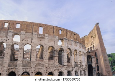 Stock Photo View of the facade Colosseum in Rome, Italy. Coliseum