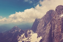 View far away beauty, inspiring closeup Alpine rocks, fresh clear blue sky. Top, on peak Dachstein, national park Austria, Europe. Winter, summer day. skiing. poster image, instagram filter photo