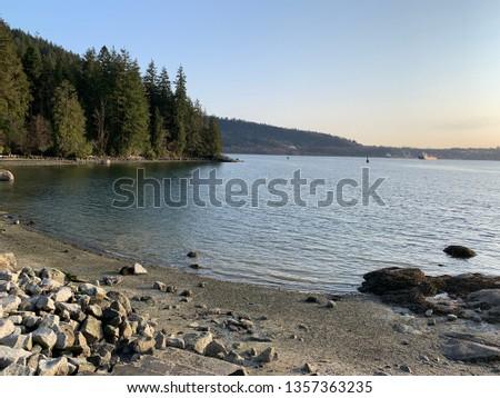 View for beautiful beach in Belcarra Regional Park, Port Moody, BC, Canada