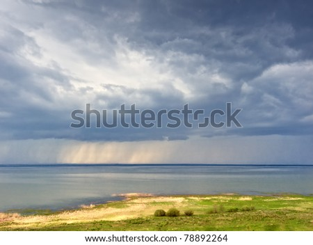 View form above to the rain over lake