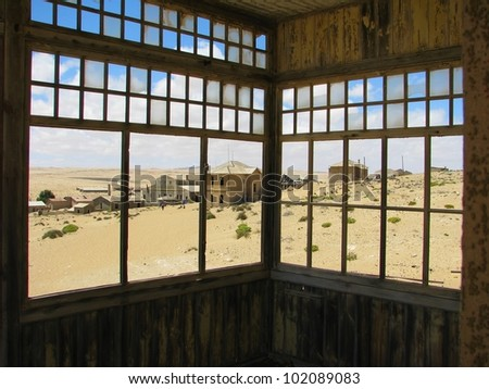 View from a balcony in ghost town Kolmasnkop, Namibia - stock photo