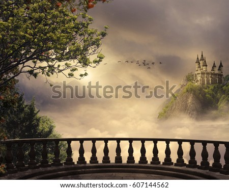 Stock Photo View from a balcony of a castle at the top of the mountain in a beautiful day. 3D rendering