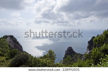 View from a cliff above the Sea. Steep cliffs into the sea, Changing weather, sunny and shadow.