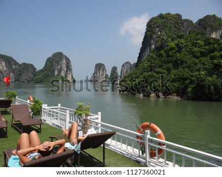 View from a cruise ship deck at Ha Long Bay, Vietnam