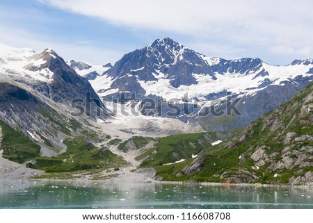 View from a cruise ship of the Johns Hopkins Glacier in Glacier Bay National Park in Alaska
