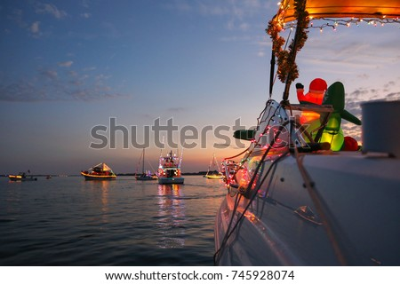 View From a Decorated Powerboat in a Florida Boat Parade