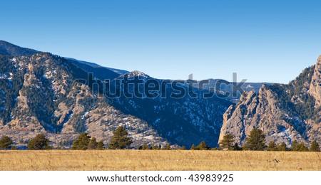 View from a distance of deep Eldorado Canyon near Boulder, Colorado