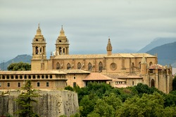 View from a distance. Pamplona Cathedral. 15th Century Gothic church.