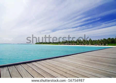 View from a jetty at a tropical island in the Maldives stock photo
