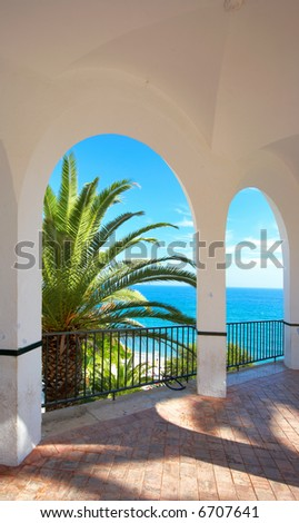 View from a luxury villa by the  ocean. Costa Del Sol, Spain