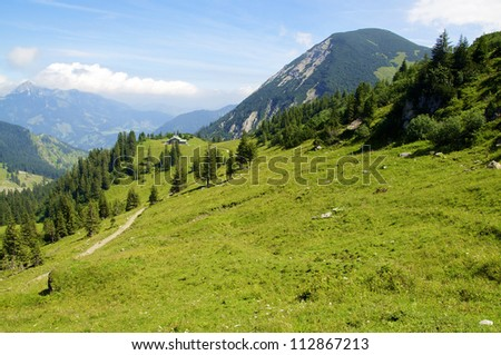 View from a peak of the bavarian Alps in Summer