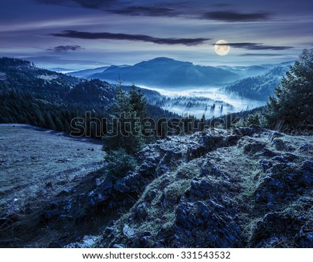 view from a rocky cliff to full of fog valley with conifer forest in high mountains of Apuseni Natural Park in Romania at night in full moon light