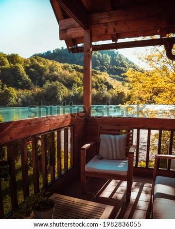 View from a small cottage balcony near Drina river in Serbia Stock photo ©