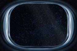 View from a spacecraft window during Interstellar travel in the dark deep space