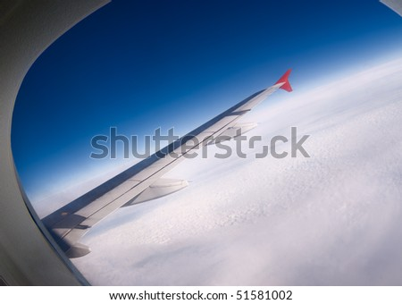 View from a window of the plane during flight