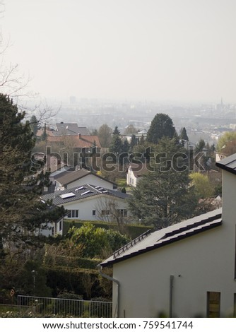 View from above from Durlach at Karlsruhe, Germany, in spring