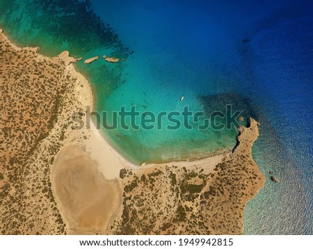 View from above of Cape Tripiti on the south coast of the Greek island of Gavdos south of Crete in the Libyan Sea Stockfoto ©