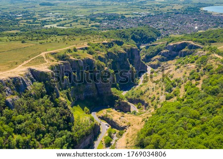 View from above of Cheddar Gorge in Somerset