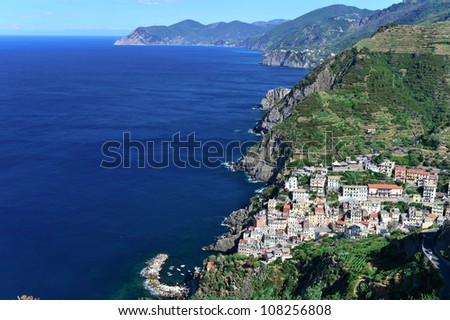 View from above of Cinque terre, Italy - stock photo