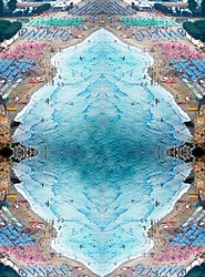 view from above  of mirror of  closed sea surrounded by beaches with bathers and bathing establishments with colored parasols red and blue in a surreal and specular context upside down wall art print