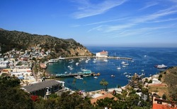 View from above of the bay and casino, Avalon, Santa Catalina Island, California