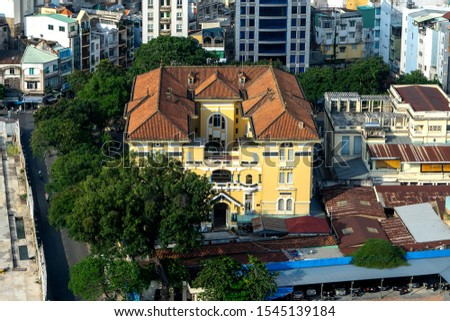 View from above of the Fine Arts Museum of Ho Chi Minh City in Saigon. Old B uilding combined Eastern-Western Architectural, where exhibiting  art works of Vietnam. Tourist attractions & destination Foto stock ©
