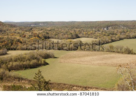 View from above of the ozark mountains in northern Arkansas at the beginning of fall. - stock photo