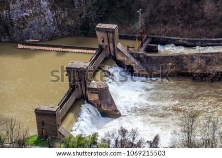 View from above of vintage hydroelectric dam on Nisava river